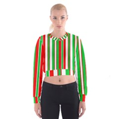Christmas Holiday Stripes Red green,white Women s Cropped Sweatshirt