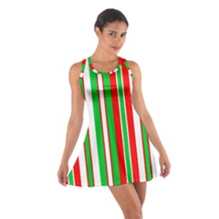 Christmas Holiday Stripes Red green,white Cotton Racerback Dress