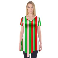 Christmas Holiday Stripes Red green,white Short Sleeve Tunic