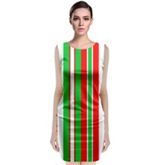 Christmas Holiday Stripes Red green,white Classic Sleeveless Midi Dress