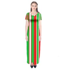 Christmas Holiday Stripes Red green,white Short Sleeve Maxi Dress