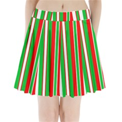 Christmas Holiday Stripes Red green,white Pleated Mini Skirt