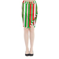 Christmas Holiday Stripes Red green,white Midi Wrap Pencil Skirt