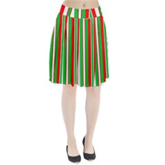 Christmas Holiday Stripes Red green,white Pleated Skirt