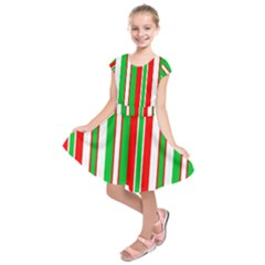 Christmas Holiday Stripes Red green,white Kids  Short Sleeve Dress