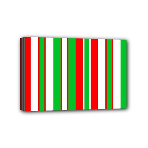 Christmas Holiday Stripes Red green,white Mini Canvas 6  x 4