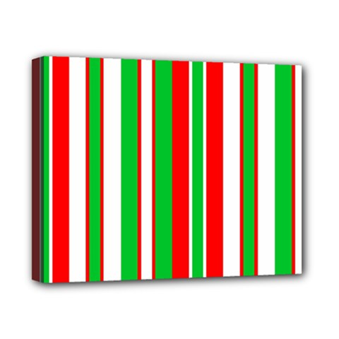 Christmas Holiday Stripes Red green,white Canvas 10  x 8