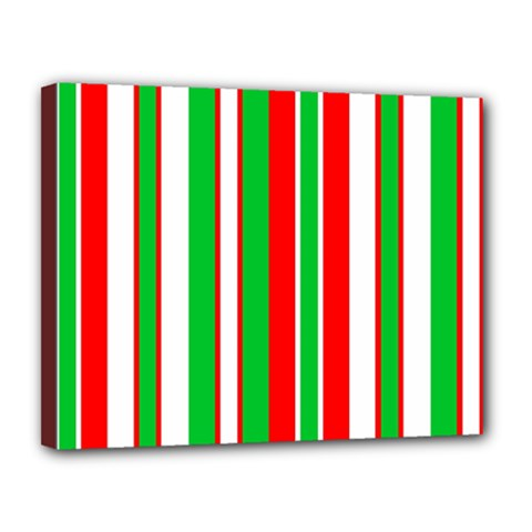 Christmas Holiday Stripes Red green,white Canvas 14  x 11