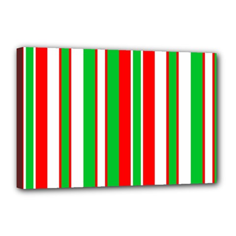 Christmas Holiday Stripes Red green,white Canvas 18  x 12