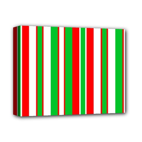 Christmas Holiday Stripes Red green,white Deluxe Canvas 14  x 11