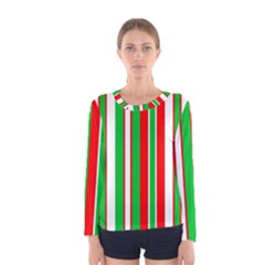 Christmas Holiday Stripes Red green,white Women s Long Sleeve Tee