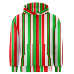 Christmas Holiday Stripes Red green,white Men s Zipper Hoodie