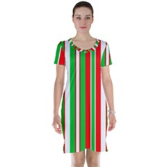 Christmas Holiday Stripes Red green,white Short Sleeve Nightdress