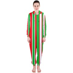 Christmas Holiday Stripes Red green,white Hooded Jumpsuit (Ladies)