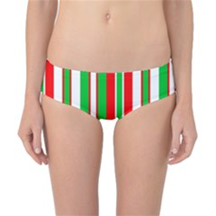 Christmas Holiday Stripes Red green,white Classic Bikini Bottoms