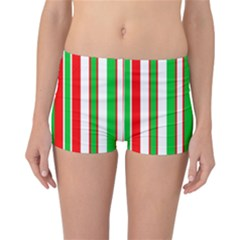 Christmas Holiday Stripes Red green,white Reversible Bikini Bottoms
