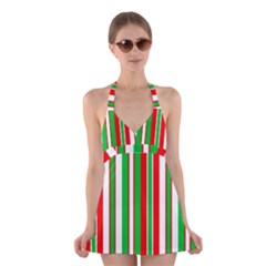 Christmas Holiday Stripes Red green,white Halter Swimsuit Dress