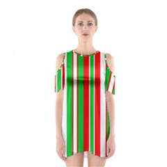 Christmas Holiday Stripes Red Green,white Shoulder Cutout One Piece