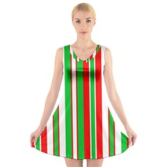 Christmas Holiday Stripes Red green,white V-Neck Sleeveless Skater Dress