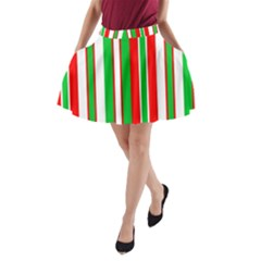 Christmas Holiday Stripes Red green,white A-Line Pocket Skirt