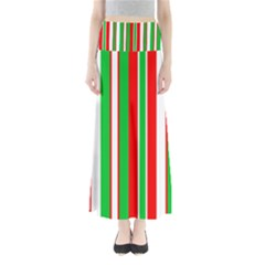 Christmas Holiday Stripes Red green,white Maxi Skirts