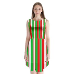 Christmas Holiday Stripes Red green,white Sleeveless Chiffon Dress