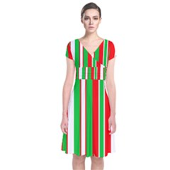 Christmas Holiday Stripes Red green,white Short Sleeve Front Wrap Dress