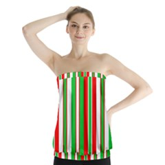 Christmas Holiday Stripes Red green,white Strapless Top