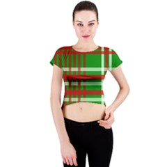 Christmas Colors Red Green White Crew Neck Crop Top
