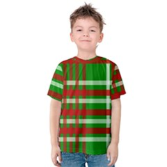 Christmas Colors Red Green White Kids  Cotton Tee