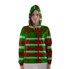 Christmas Colors Red Green White Hooded Wind Breaker (Women)