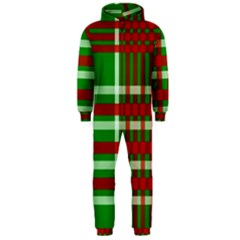 Christmas Colors Red Green White Hooded Jumpsuit (Men)