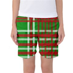 Christmas Colors Red Green White Women s Basketball Shorts