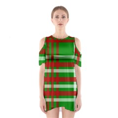 Christmas Colors Red Green White Shoulder Cutout One Piece