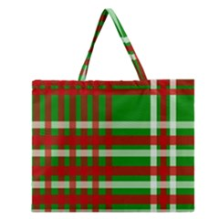 Christmas Colors Red Green White Zipper Large Tote Bag