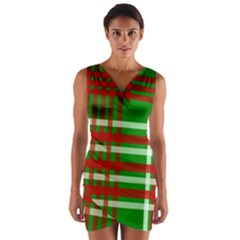Christmas Colors Red Green White Wrap Front Bodycon Dress