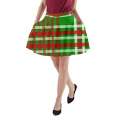 Christmas Colors Red Green White A-Line Pocket Skirt