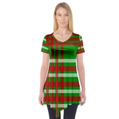 Christmas Colors Red Green White Short Sleeve Tunic