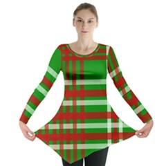 Christmas Colors Red Green White Long Sleeve Tunic