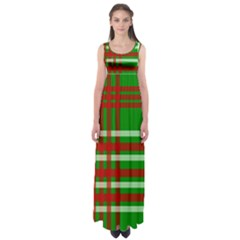 Christmas Colors Red Green White Empire Waist Maxi Dress