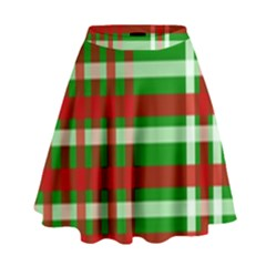 Christmas Colors Red Green White High Waist Skirt