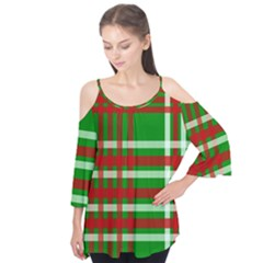 Christmas Colors Red Green White Flutter Tees