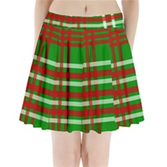 Christmas Colors Red Green White Pleated Mini Skirt