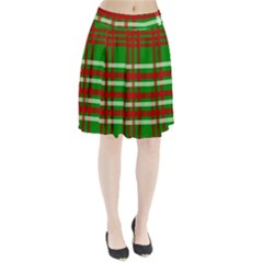 Christmas Colors Red Green White Pleated Skirt