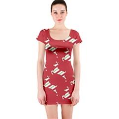 Christmas Card Christmas Card Short Sleeve Bodycon Dress