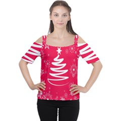 Christmas Tree Women s Cutout Shoulder Tee