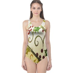 Christmas Ribbon Background One Piece Swimsuit