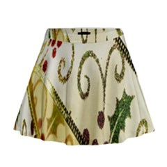 Christmas Ribbon Background Mini Flare Skirt