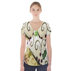 Christmas Ribbon Background Short Sleeve Front Detail Top