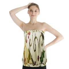 Christmas Ribbon Background Strapless Top